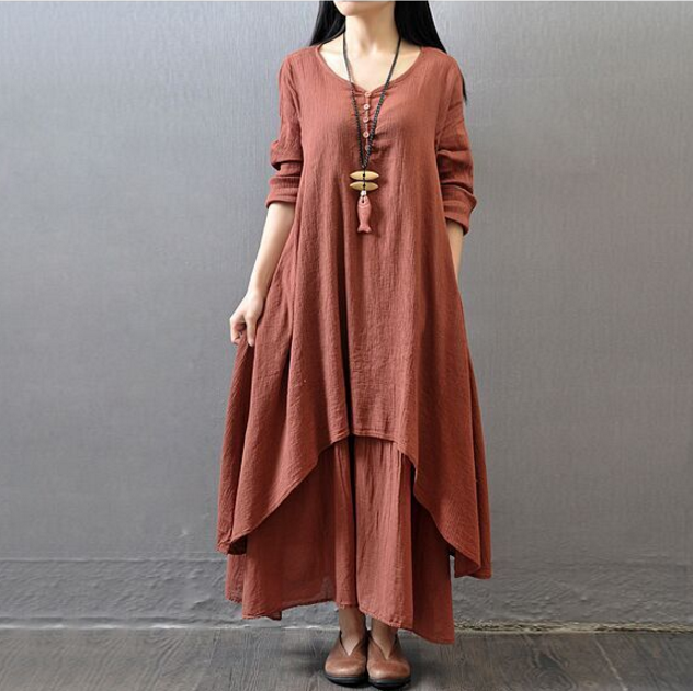 Cotton and Hemp Women Art Line Long Sleeve Spring And Summer Clothing Korean Maxi Dress