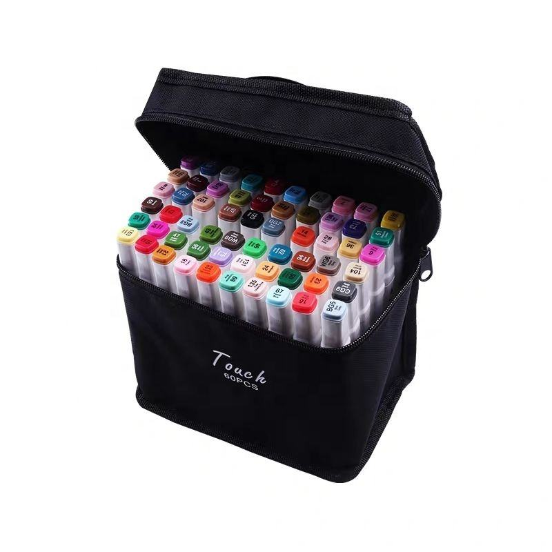 Art Supplies Dual Tips Permanent Art Markers with Carrying Case For Drawing Sketching