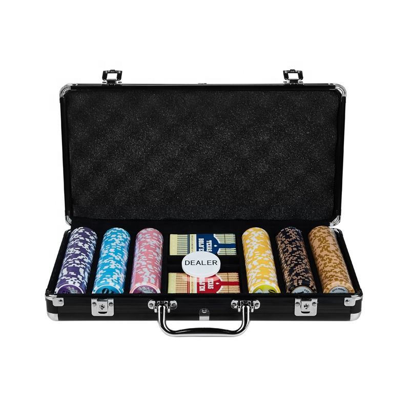 Etiqueta laser 500 chip set 300 PC caso de alumínio conjunto de fichas de poker do casino chip