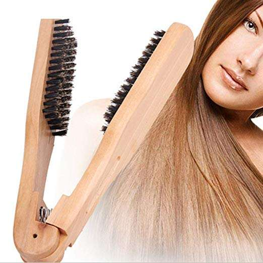 Anti Static Beauty Hairdressing Tools Boar Bristles Double Side V-Shaped Hair Straightener Brush For Hair