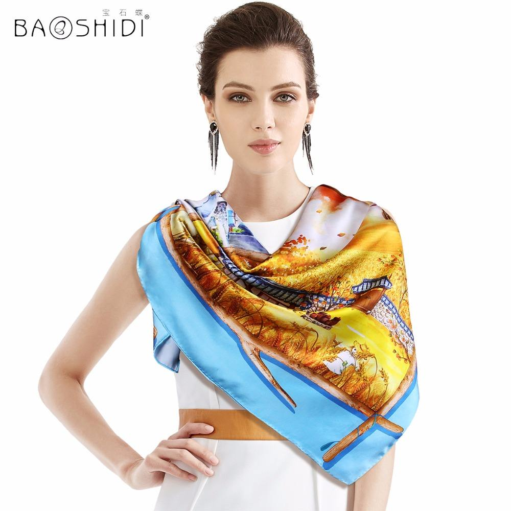 Top Quality Satin Silk Fabric Luxury Manual Produced Scarf Women