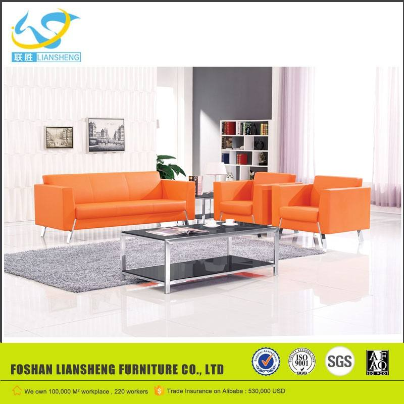 Modern office leather sofa with stainless legs,leisure sofa,executive office sofaLS -Kl