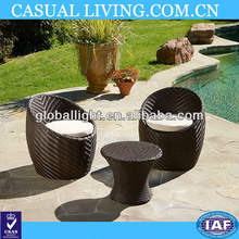 Outdoor Patio Furniture 3pcs Brown Wicker Seating Set