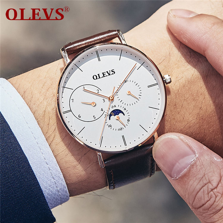 OLEVS 6860 Luxury Full Stainless steel Watch Men Business Ultra thin Quartz waterproof Watches Military Wristwatch Relogio New