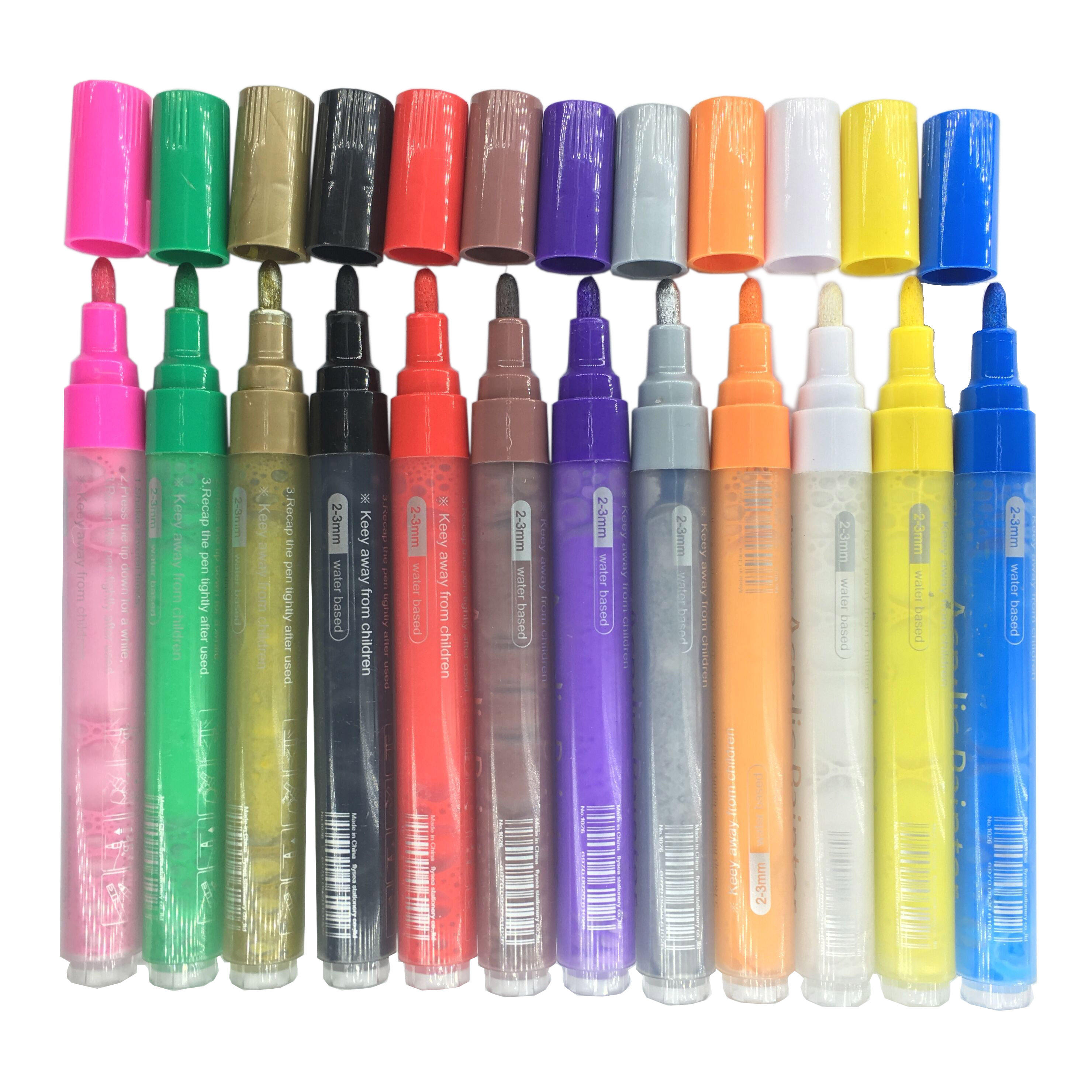 Write on Glass painting, Ceramic, Porcelain, Metal, Wood, Plastic Permanent Waterproof Metallic Acrylic Paint Marker Pens