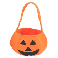 2018 alibaba cheaper handmade eco friendly felt non woven festival halloween pumpkin basket bag for decoration
