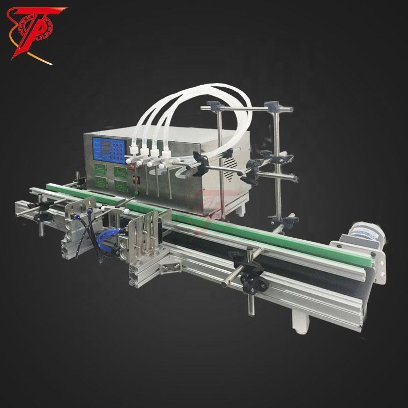 Table Top Desktop Automatic Liquid Filling Machine 4 Heads with Conveyor Belt For Perfume Filling Machine Water Filler