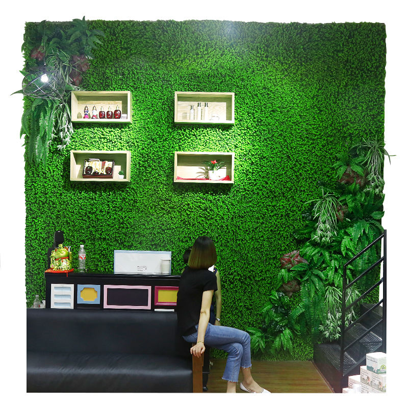Artificial plant wall grass Simulation Plants Landscaping Flower Wall Green Plastic Lawn Door Shop Image Backdrop Grass Flores