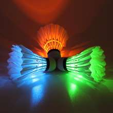 DECOQ Glow in Dark LED Duck Feather Badminton Shuttlecock Birdie