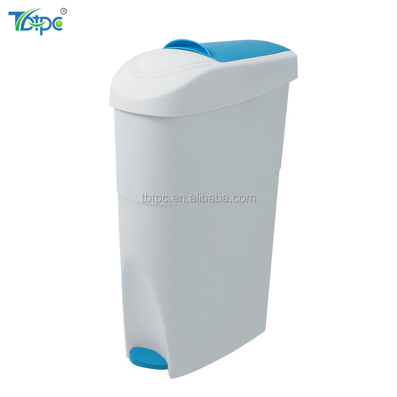 Wholesale plastic sanitary chatroom toilet waste bin pedal step trash can dustbin for ladies