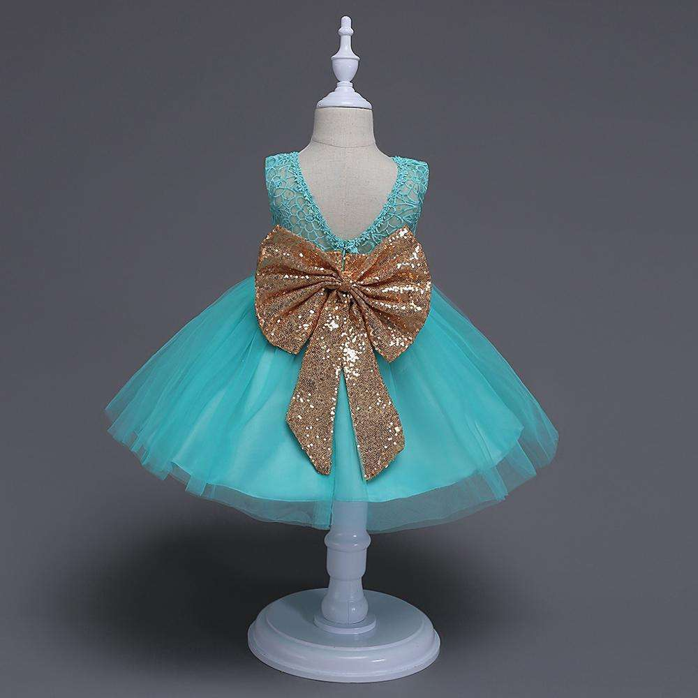 Hao Baby 2020 New Style Sequin Flower 2-6 Years Girl Party Dress Birthday Wedding Princess Baby Children Kids Girls Dresses