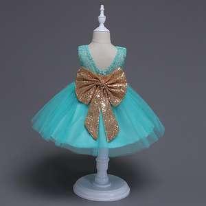 Hao Baby 2020 New Style Sequin Flower 2-6 Years Girl Party Dress Birthday Wedding Princess Baby Children Kids Girls Dresses