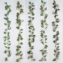 Vintage artificial silk rose garland flowers plants vine for home kitchen wall floral decor