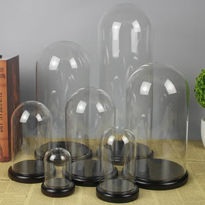 Factory Wholesale Custom All Sizes Glass Dome Cloche With Wooden Black Base Promotion Glass Dome Wood Base