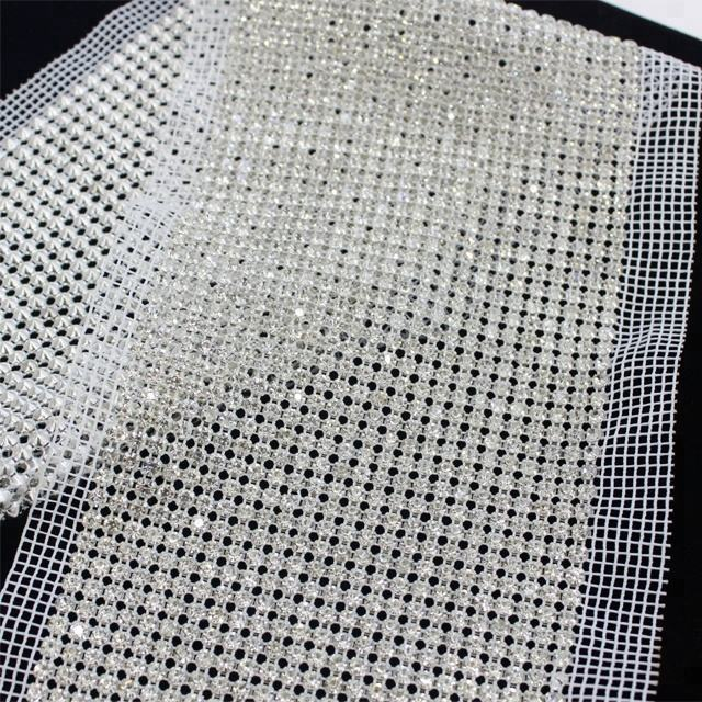 Wholesale 24rows fabric rhinestone mesh crystal rhinestone mesh trim for garment decoration
