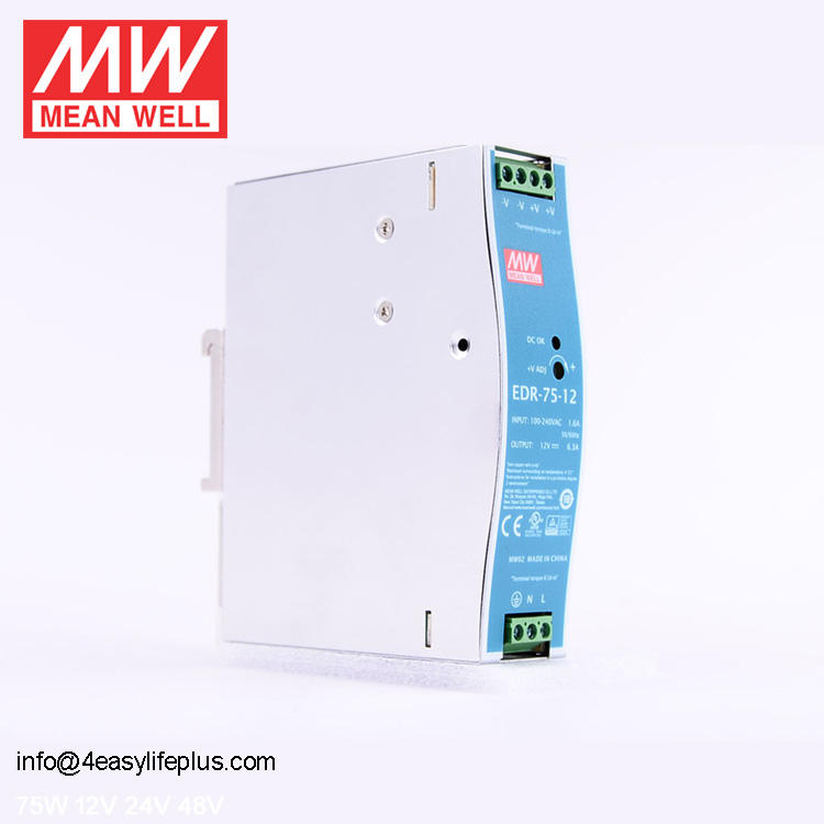 Cina Power Supply 12 V 75 W 6.3A EDR-75-12 Meanwell Single Output Industri DIN RAIL