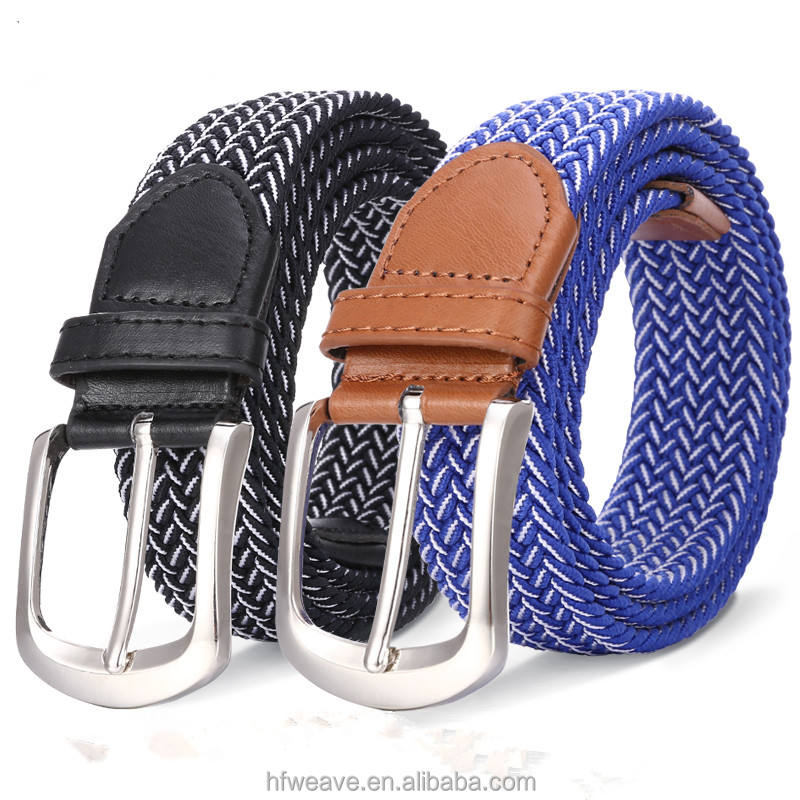 New mix color design two color cotton braided elastic stretch weave belt