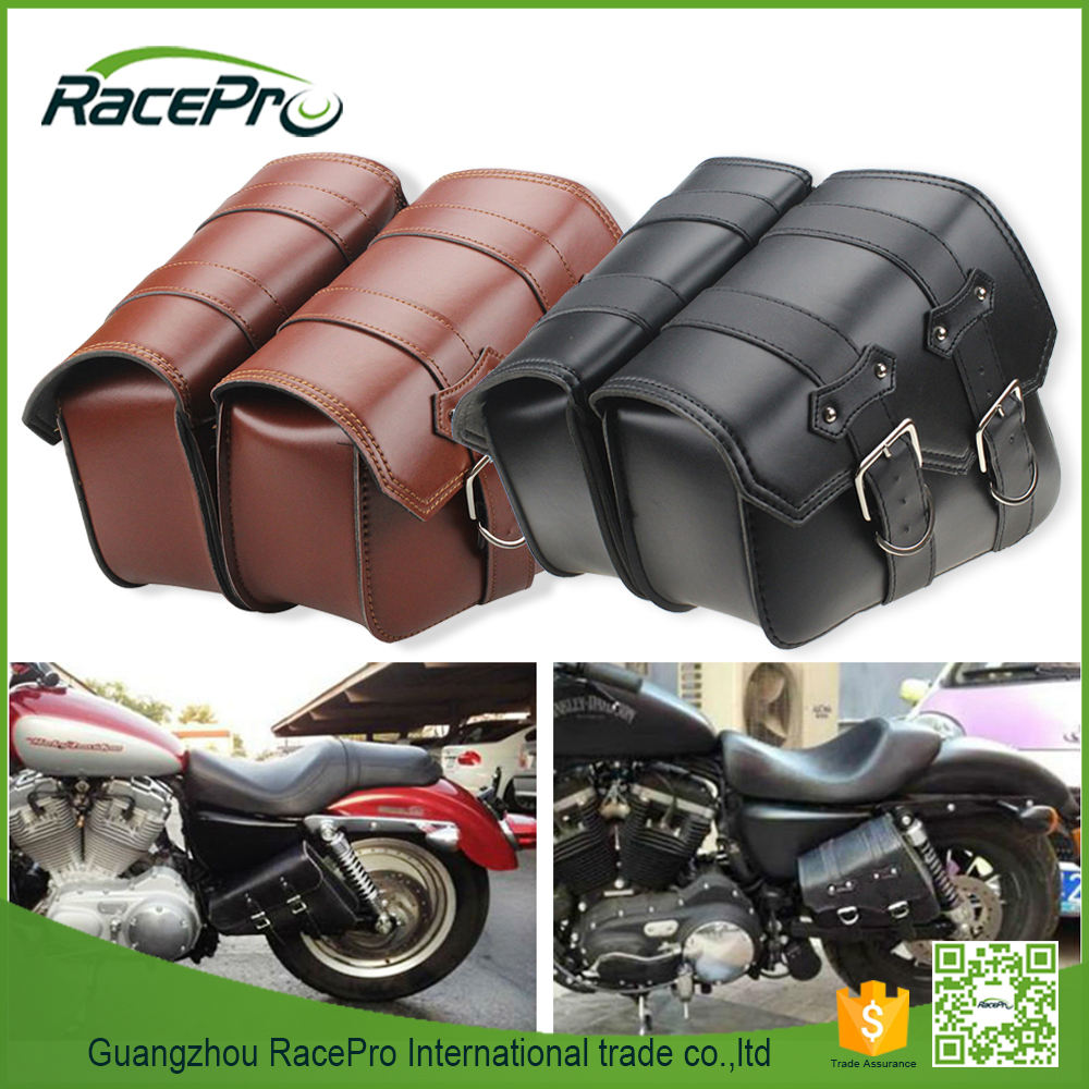 Latest brown leather saddle bags for motorcycle accessories, wholesale waterproof bag motorcycle