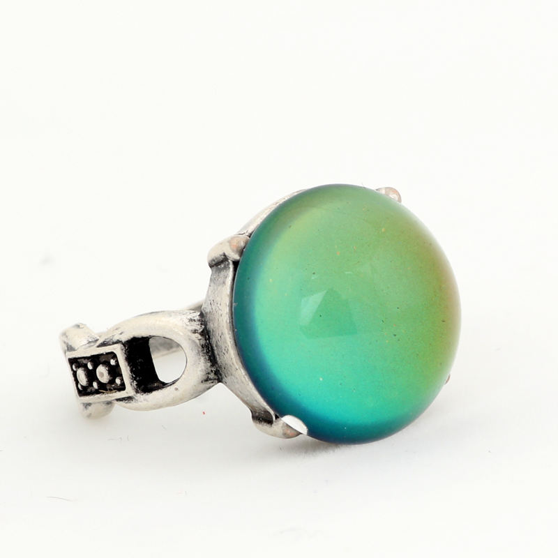 America and Europe Popular Antique Silver Plated Color Change Mood Round Glass Stone Ring MJ-RS041