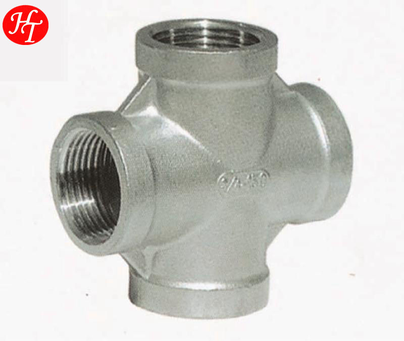 industrial medium pressure ss 304 /316 female threaded end cross pipe fitting