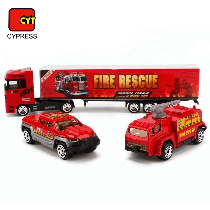 Model Fire Truck Play Set Metal Car Toy With High Simulation