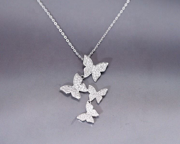 Real 925 sterling silver filled long zircon butterfly necklaces,fashion sterling silver jewelry statement necklace for Women
