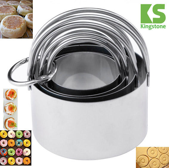 Best seller Amazon 2017 Stainless Steel Biscuit Cutter Set Metal Circle Molds Round Cookie Cutters with Handles