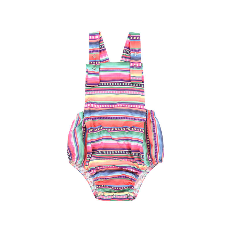 Cute Mexican serape rainbow striped straps summer jumpsuit baby cotton baby onesie custom baby romper organic cotton wholesale