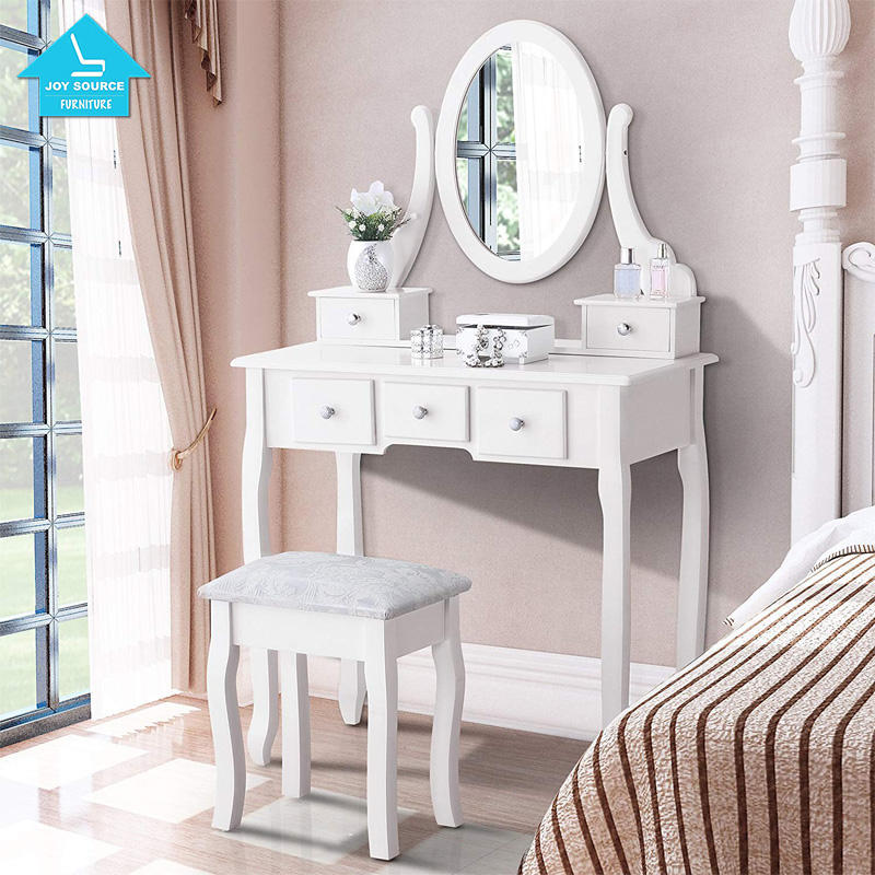 Modern Dressing Table with Cushioned Stool Table Set withWood Makeup