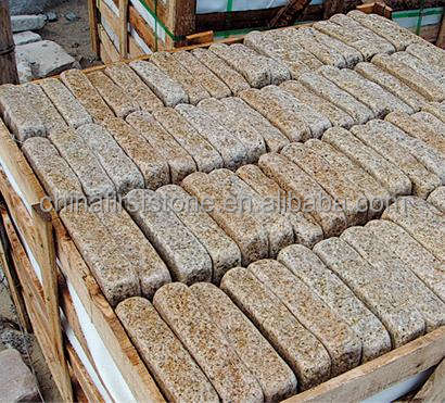 High Quality Natural Strong G682 Luxury Sunset Gold Antique Flat Mat Finish Castle Stone Patio Brick Tumbled Granite Tile Paver