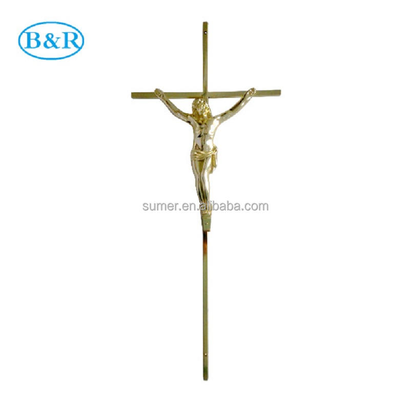 D051 size46*17.5cm coffin accessories metal coffin decorative crosses with jesus casket crucifix