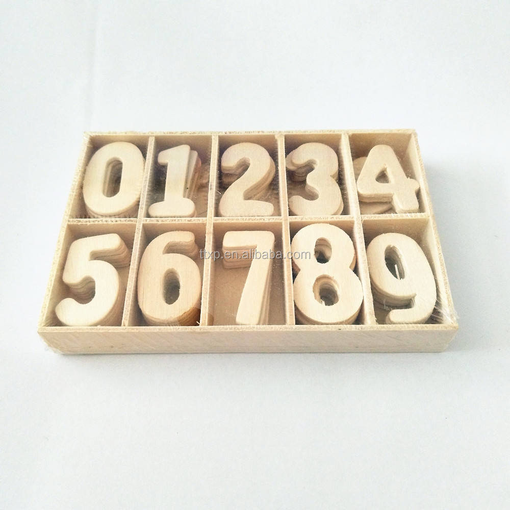 Wooden Number Sets for DIY Craft Embellishment 60pcs, 0-9