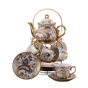 Wholesale 13pcs Turkish Products Ceramic Gold Plated Coffee Set Tea Set