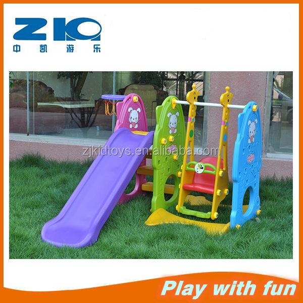 Красочные пластиковые крытый играть детские пластиковых слайдов и качели