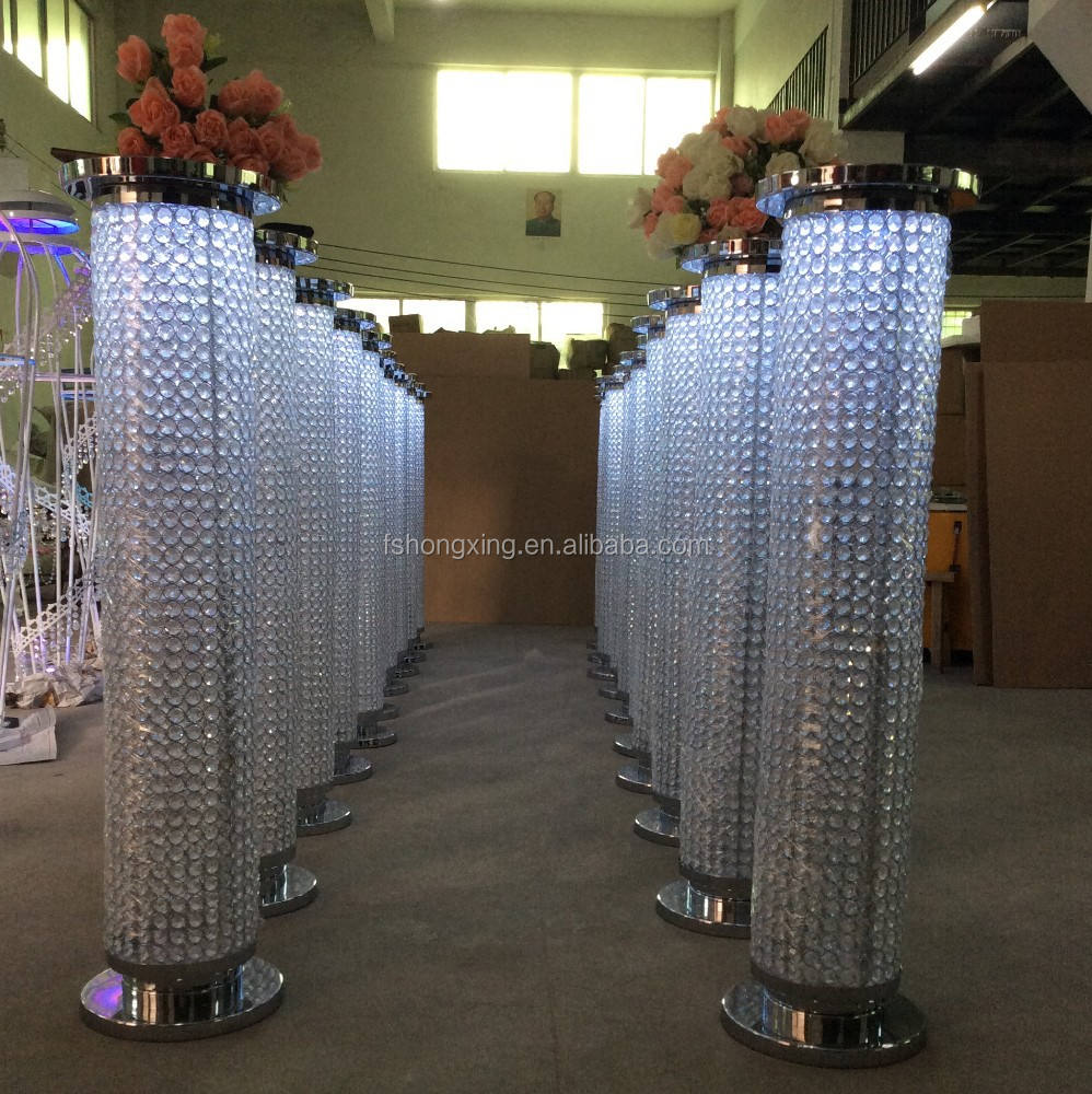 Hot sale crystal pillar with LED light for wedding stage decoration,