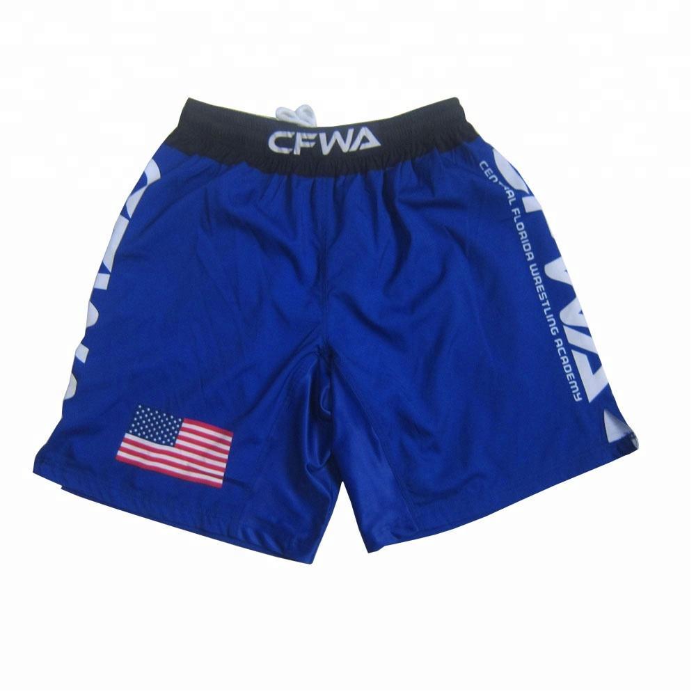 navy blue drawstring wrestling boxing shorts