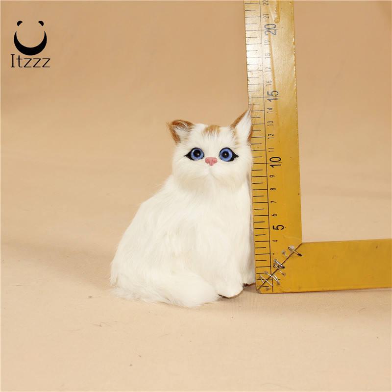 Simulação gato arroz enfeites de decoração para casa gato grande modelo animal estático flor gato modelo cauda pode ser dobrado