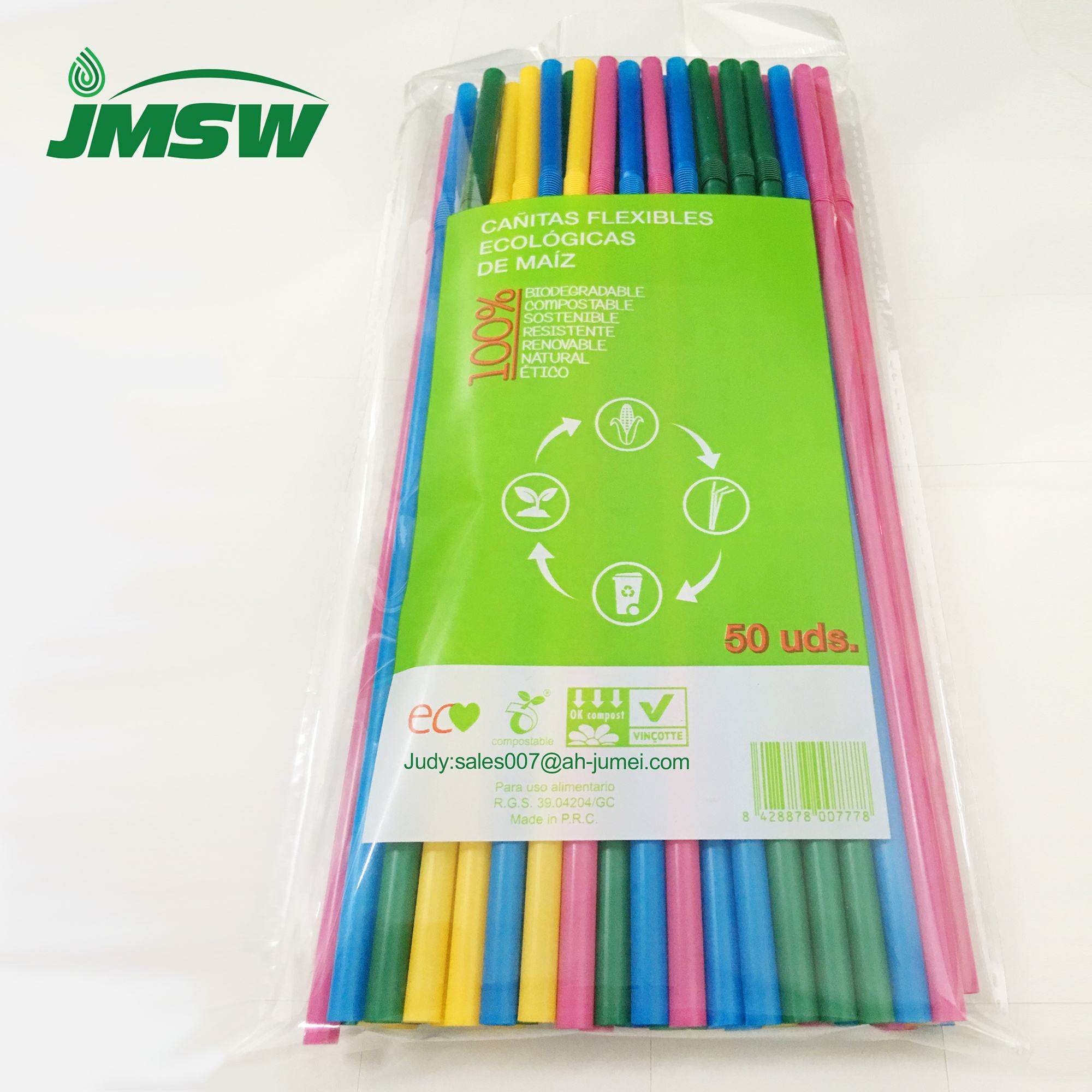 Wholesale Colorful Compostable Biodegradable Flexible PLA Straight Straw