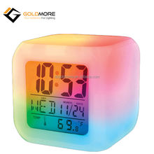 GOLDMORE Ningbo Factory Novelty Plastic Desk LED Alarm Clock Frozen night light up 7colorful cube digital clock