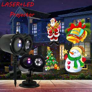 Indoor Outdoor RGB Double Head Laser LED 2in1 Projection Lamp With Remoter for Garden Stage Christmas Halloween Birthday Party