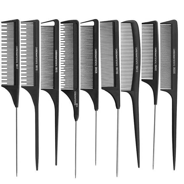 Heat Resistant Salon Hair Trimmer Antistatic Cutting Combs Carbon Hairdressing Metal Pin Tail Comb Full Style Offer