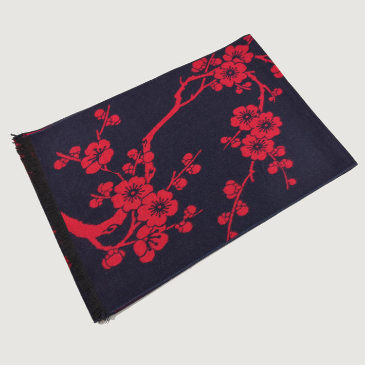 패션 실크 스카프 중국어 elements black ground red color 매 화 blosoom (High) 저 (quality 100% pure silk jacquard scarf 대 한 숙 녀