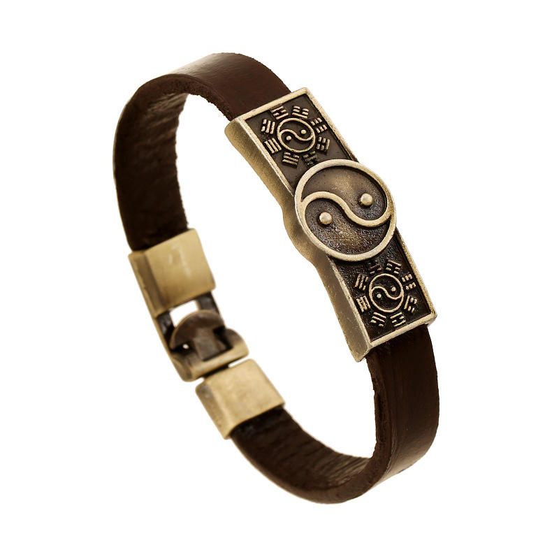Chinese Jewelry Custom Alloy Logo Engraved Tai Chi Leather Bracelets Wholesale Men's Bangles
