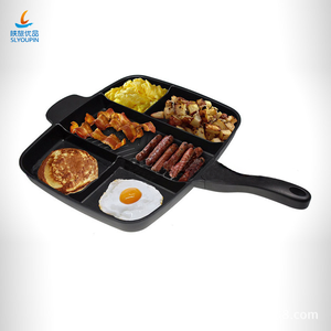 Aluminum 5 sections divided skillet non-stick coating grill pan Kitchen Products 5 in 1magic pan