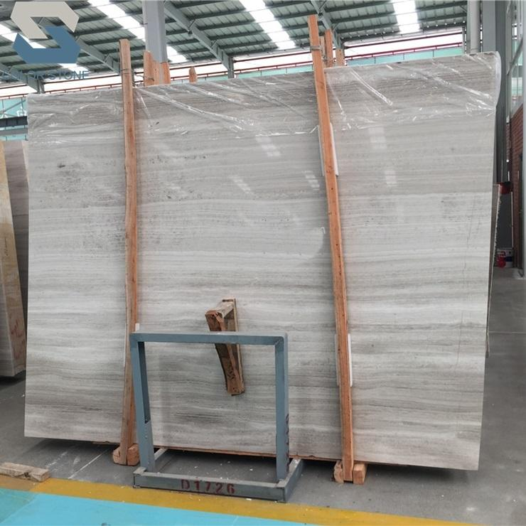 Lower price Chinese wood vein Wooden White Marble Slab