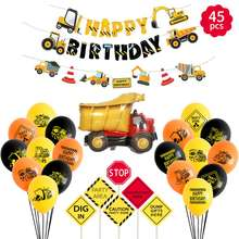 Easternhope Construction Birthday Party Supplies Dump Truck Party Decorations Kits Set for Kids Birthday Party