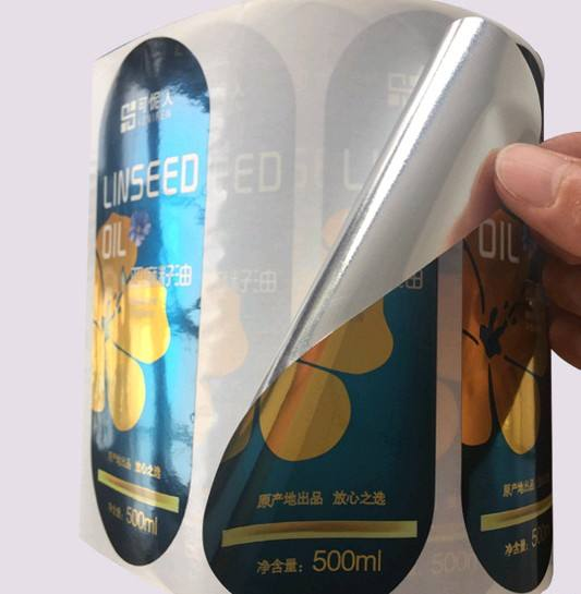 Customize plastic sticker matte finish gold foil printed stickers for packing