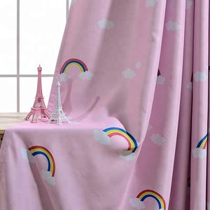 Baby Nursery Pink Printed Rainbow Window Blackout Curtains Panels Drapes With Voile For Kids Children Bedroom Custom