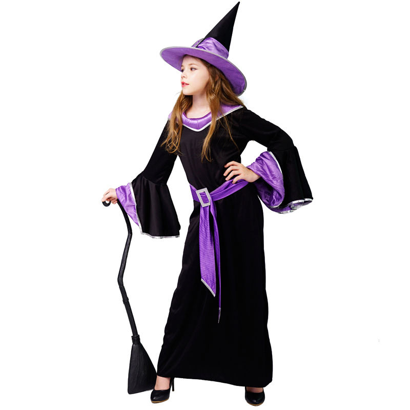Girl's Witch Costume Halloween Party Cos Dress Carnival Cosplay Glamour Witch Costume For Kids