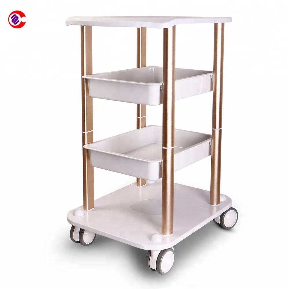 Silver economical beauty salon trolley cart aluminium assemble beauty salon equipment